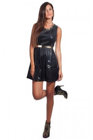 Vestido negro efecto cuero brillante