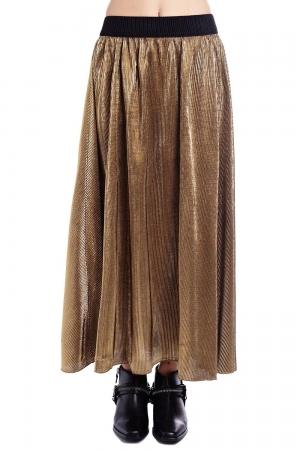 Falda larga metalizada dorada