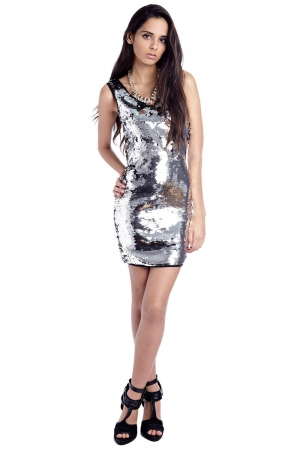 Vestido de fiesta ajustado de lentejuelas plata