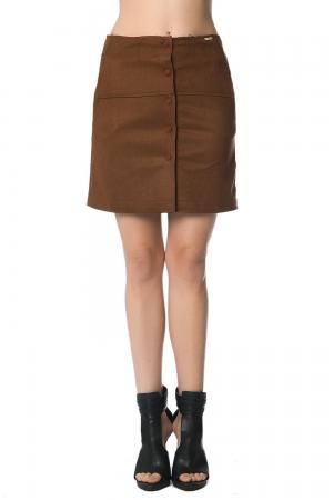 Mini falda de ante camel con botones delateros