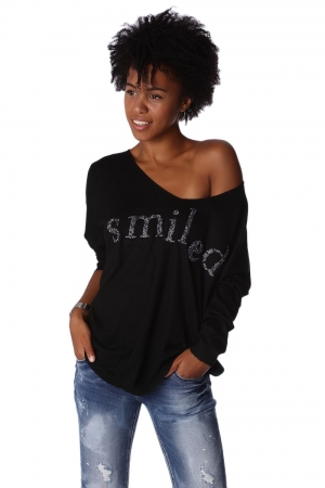Top negro de punto con detalle de logo Smiled