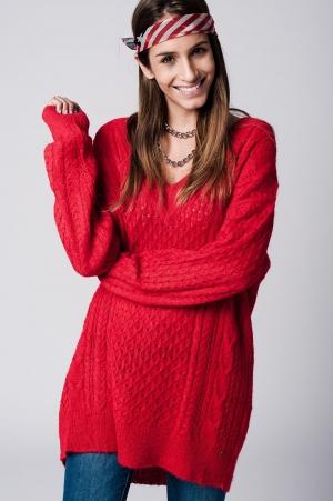 Jersey tipo vestido rojo de pico