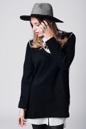 Jersey de punto suave negro con ribetes en contraste