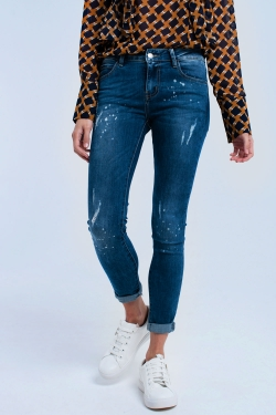 Super skinny jeans with bleach splatter