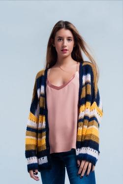 Mustard Chunky Knit Cardigan stripes