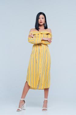 Vestido amarillo de tirantes con diseño abotonado a rayas