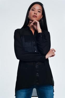 Blusa negra de saten