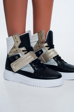 Hi-top sneakers in gold