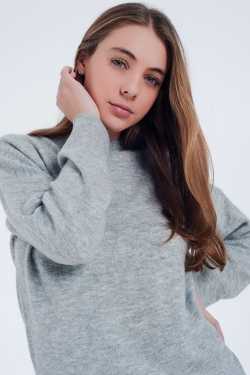 Gray knitted sweater long sleeved