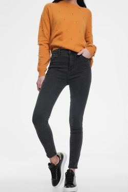 Gray skinny jeans with high waist