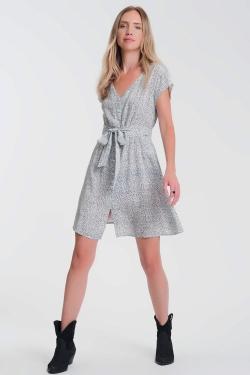 button through smock white dress in ditsy print