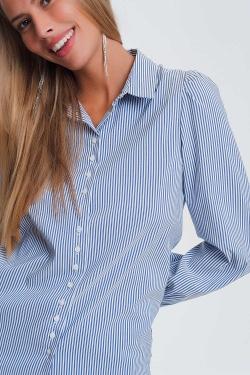 Camisa con manga con volumen y estampado de rayas en azul