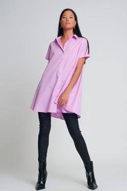 Camisa de popelina extragrande de manga corta en morado