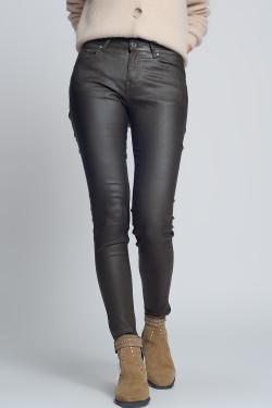 Faux leather skinny pants in khaki colour