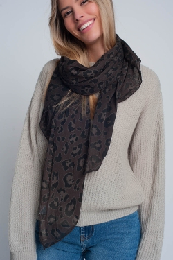 Brown scarf with panther print