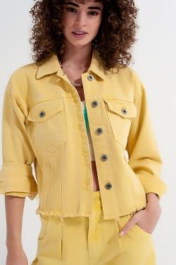 Raw hem denim jacket in yellow