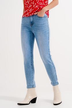 Jeans skinny a vita alta lavaggio chiaro blu
