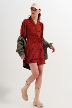 Vestito corto avvolgente con scollo profondo e stampa geometrica